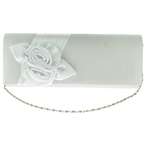 Handbags White Girly Purse Evening Design Flower Satin Women Wocharm Wedding Handbag Ladies Bag Clutch Party 56xw15q
