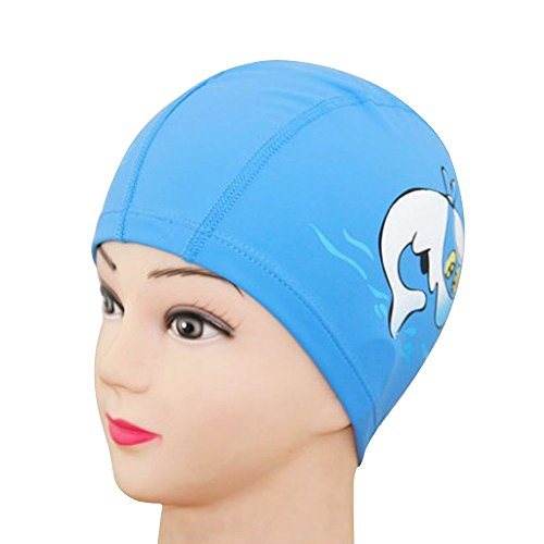 [Cideros Kids Swimming Caps PU Coated Breathable Waterproof Bathing Hats Comfort Fit Cute Cartoon Swimwear, Blue] (Frog Swimming Costume)