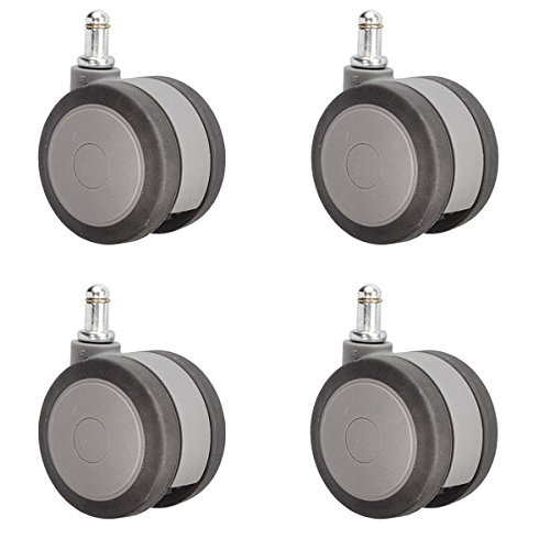 3'' (75mm) Heavy Duty Office Chair Casters - Gray Softech Non-Marking Hardwood Floor Safe Wheels Set of 4