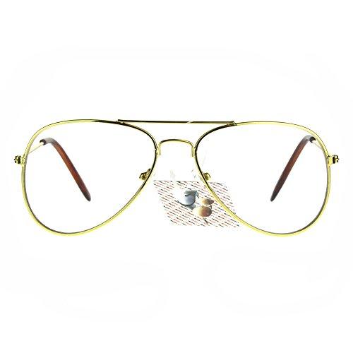 Childrens Size Clear Lens Metal Rim Aviator Eye Glasses - Aviator Hipster Glasses