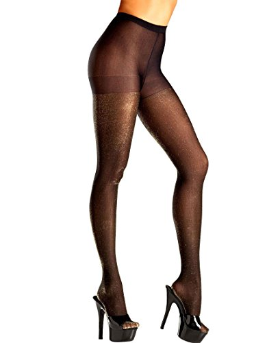 Tights Shimmer Black (Be Wicked BW688B Women's Black Pantyhose With Gold Shimmer Accent - One Size - Black/Gold)