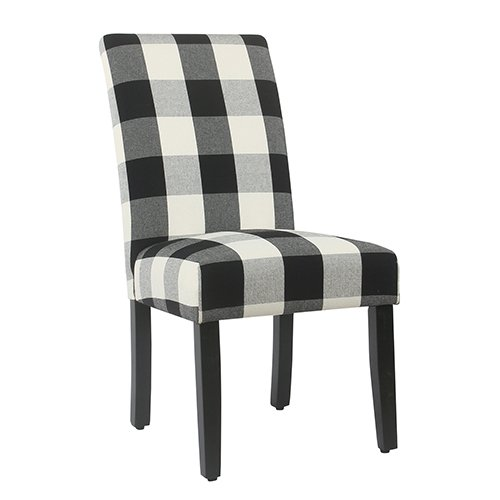 Meadow Lane Black Plaid Parsons Dining Chair - Set of 2 ()