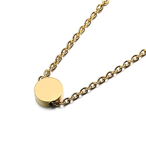 SEVEN50 Simple Floating 0.5'' Round Pendant Necklace Silver Round Charm 23'' length Necklace by with gift box (Yellow)