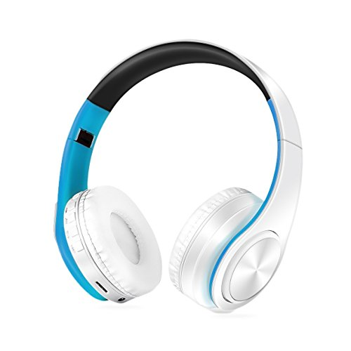 Over Ear Headphones, KINGCOO Foldable Stereo HeadphonesWireless Bluetooth 4.0 and Microphone Supports TF Card and 3.5mm audio interface White/Blue by KINGCOO