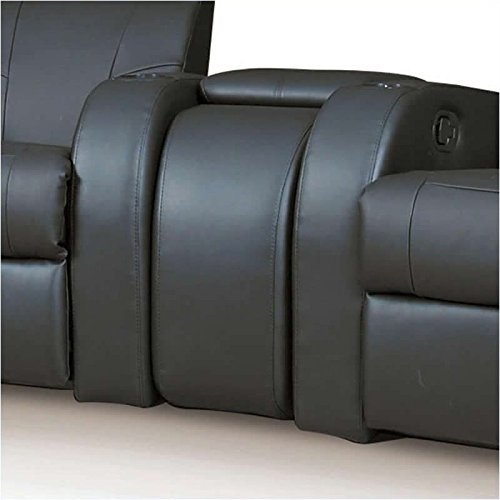 Coaster Cyrus Transitional Black Leather Theater Seating Recliner with Wedge Consoles