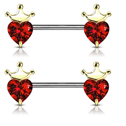 (CZ Crystal Heart with Crown Nipple Barbells, Sold as Pair (Gold Tone/Red))