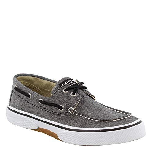 (SPERRY Men's, Halyard Lace up Boat Shoe Chambray Black 10.5)