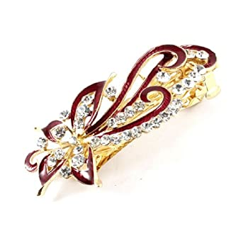 uxcell Lady Party Flower Design Rhinestone Detail Barrette Hair Clip Burgundy