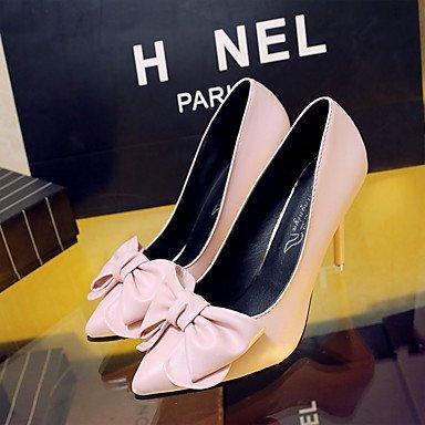 Talones de las mujeres del resorte de la PU Comfort exterior del talón de estilete Negro Azul Rosa Walking Pink