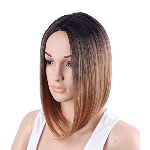 Yiyuan Hair Short Bob Ombre Hair Wigs Glueless Straight Synthetic Black Roots Natural Heat Resistant Fiber Hair Wigs for Women (golden) (Short Bob Hairstyles For Women Over 60)