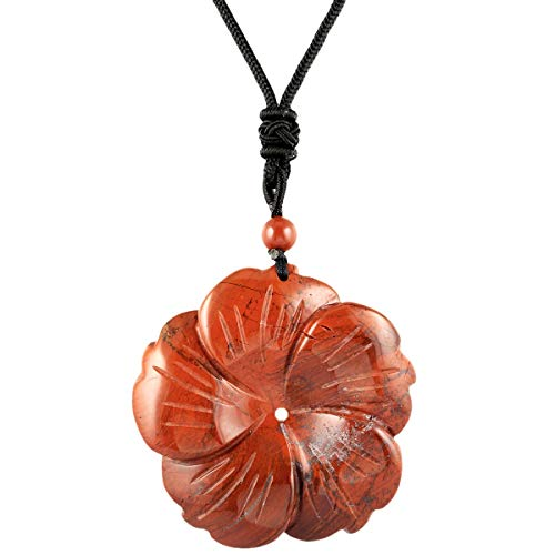(rockcloud Hand Carved Red Jasper Flower Natural Crystal Stone Pendant Necklace for Women)