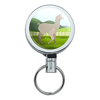 All Metal Retractable Reel Id Badge Key Card Holder With Belt Clip Animals - Brown Alpaca -