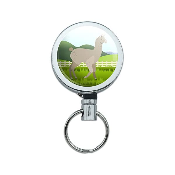 All Metal Retractable Reel Id Badge Key Card Holder With Belt Clip Animals - Brown Alpaca -