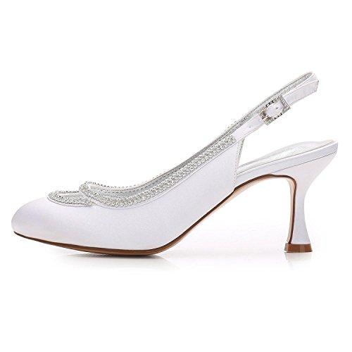 L@YC Frauen, Die F17061-29 Geschlossene Zehe-klumpige Rhinestone-Pumpen-Satin-Abend-/Hochzeitsschuhe Gewohnheit Kräuseln Ivory