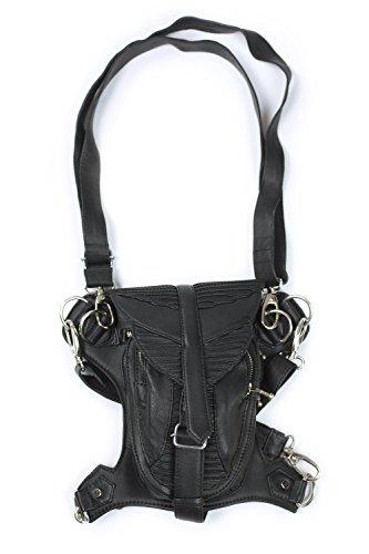 [Verillas Unisex Adult Gunslinger Stash/ Leather Shoulder or Hip Mounted Bag Black] (Woman Gunslinger Costume)