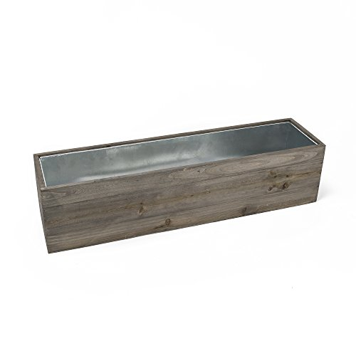 CYS Excel Rustic Planter Box, 15 Sizes Available, Wood Planter, Decorative Box, Succulent and Floral Arrangements, Indoor Use Wood Box with Removable Liner, Wedding DÉCOR H:4