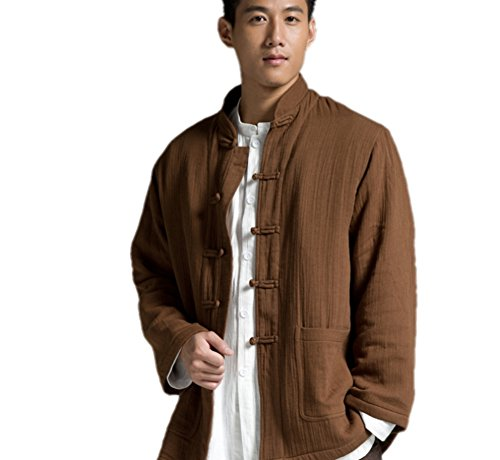 Katuo Chinese Traditional Men's Casual Shirt Blouse Meditation Outwear S-2XL (L, Coffee) by KATUO (Image #2)