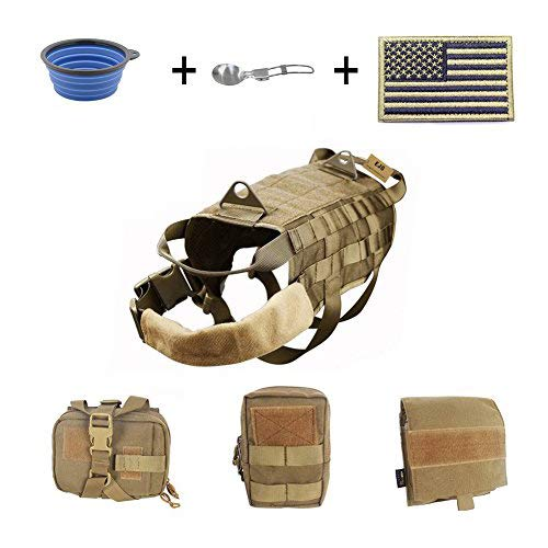 Brown Large Brown Large EJG Military Tactical Service Dog Training Vest Molle Dog Harness Camping Hiking Traveling Nylon Adjustable Coat with 3 Detachable Pouches for Medium & Large Dog