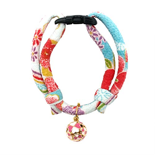 - PetSoKoo Quality Cat Collar with Breakaway, Japan Chirimen Fabric and Clover Bell (Small (6-10 Inches,15cm-25cm), Baby Blue)