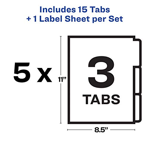 Avery 11430 Print & Apply Clear Label Unpunched Dividers, 3-Tab, Letter (Pack of 5 Sets)