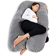 Meiz U Shaped Pregnancy Body Pillow with Zipper Removable Cover (Gray- Velvet)
