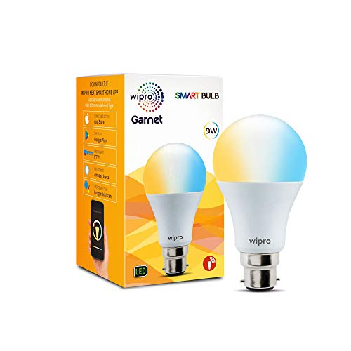 wipro Wi-Fi Enabled Smart LED Bulb B22 9-Watt Compatible with Amazon Alexa and Google Assistant (White and Yellow)