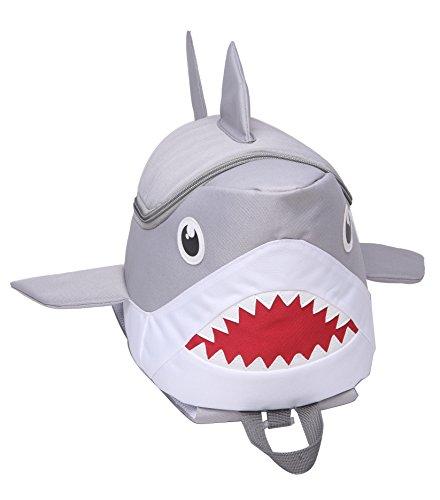 Kids Backpack School bag waterproof Unisex 3D children Shark Character cartoon cute Satchel Below 20 Liters capacity Pink Yellow Gray (Gray)Rainbow - With Cartoon Glasses Characters