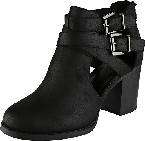 - Cambridge Select Women's Side Cut Out Buckle Chunky Stacked Heel Ankle Bootie (8.5 B(M) US, Black PU)
