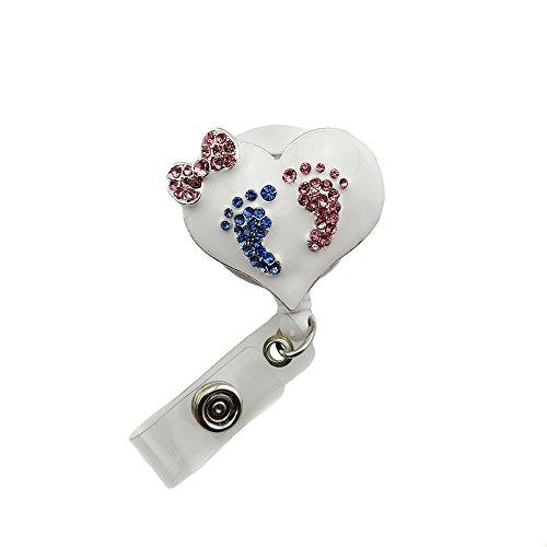 Carrete con insignia de corazón esmaltado para enfermera/retráctil con estrás para identificación