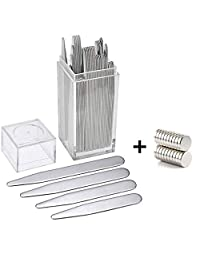 "40 Magnetic Collar Stays with 20 Magnets - Aolvo Men's Metal Collar Stays Reusable Collar Stiffeners Set for Dress Shirt, Best Gift for Father Husband Boyfriend, 4 Sizes (2.2""/2.5""/2.7""/3"")"