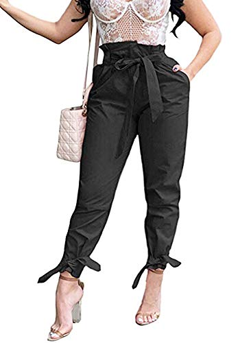 (Yissang Women's Casual Loose Paper Bag Waist Long Pants Trousers with Bow Tie Belt Pockets Black X-Large)