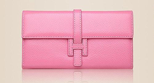 Pink Genuine Leather Women's Long Clutch Jonon Handbags Wallets Purses 5qw8EnZv