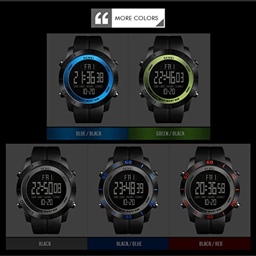 Large Dial Outdoor Men Sports Watches LED Digital Wristwatches Waterproof Alarm Chrono Calendar Fashion Casual Watch 1142 (Color : Black Dial+Red Diaplay)