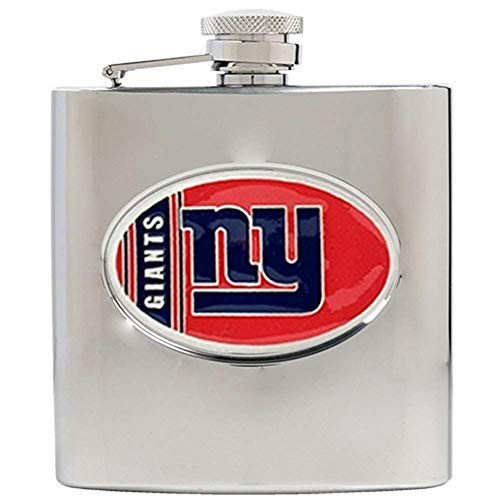 (NFL New York Giants 6oz Stainless Steel Hip Flask)