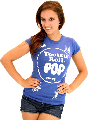 Tootsie Roll Pop Assorted Grape Blue Costume T-shirt (Blue) (Juniors Small)]()