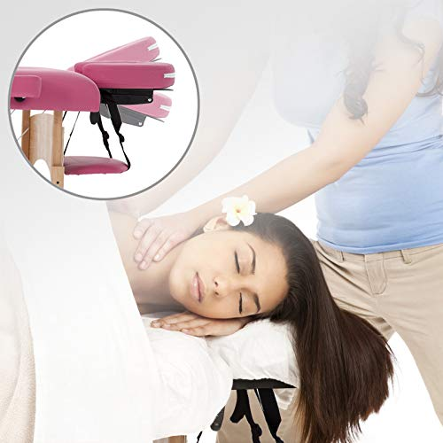 Massage Table Portable Massage Bed Spa Bed 73 Inches L Height Adjustable PU Leather 2 Folding Spa Bed Facial Cradle Foam Pad Carry Case Tattoo