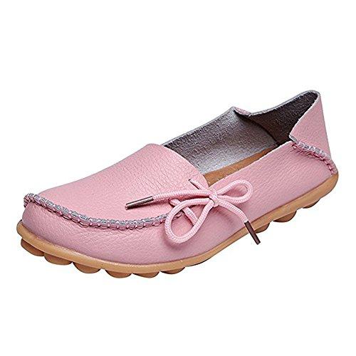 Tasainen Wyhweilong Vaaleanpunainen Kävelykengät Naisten Loafers Rento Nahka Ajo O1qIF1H