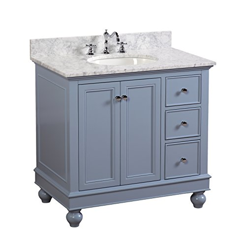 Bella 36-inch Bathroom Vanity (Carrara/Powder Blue): Includes a Powder Blue Cabinet with Soft Close Drawers, Authentic Italian Carrara Marble Countertop, and White Ceramic ()