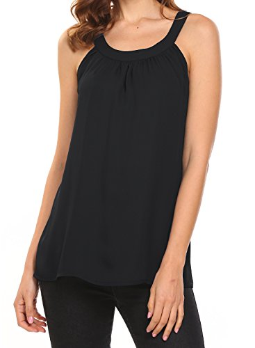 Halter Workout Tops (BLUETIME Summer Shirts Woman Casual Chiffon Blouses Sleeveless Tank Top Black M)