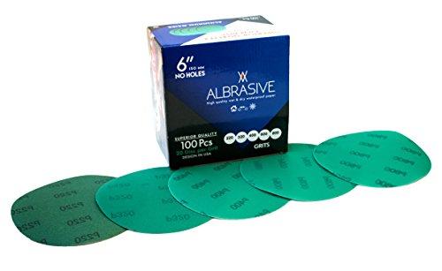 ALbrasives Velcro Hook Loop Sanding Discs 6 Inch No Holes, 100 Pack, 20 Count Each, Assortment Grits (220/320/400/600/800) Set by ALbrasives