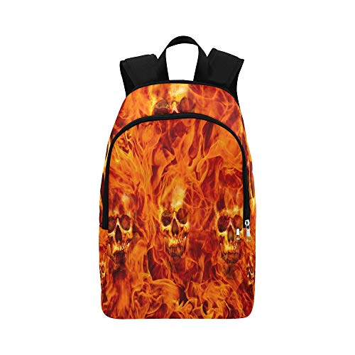Red Hot Fire Skull On Halloween Background Casual Daypack Travel Bag College School Backpack Mens Women]()