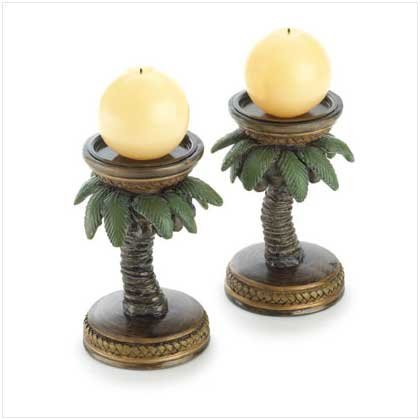2 Palm Tree Candle Holders - Gifts & Decor 2-Palm Tree Tropical Home Candleholder by Gifts & Decor