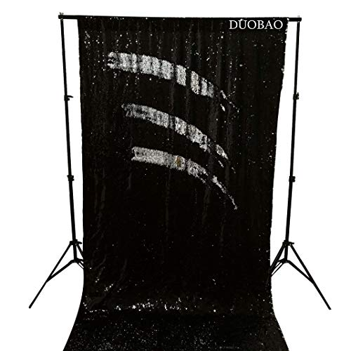 DUOBAO Sequin Backdrop Curtains 2 Panels 4FTx8FT Reversible Sequin Curtains Black to Silver Mermaid Sequin Curtain for Wedding Backdrop Party Photography Background by DUOBAO (Image #6)
