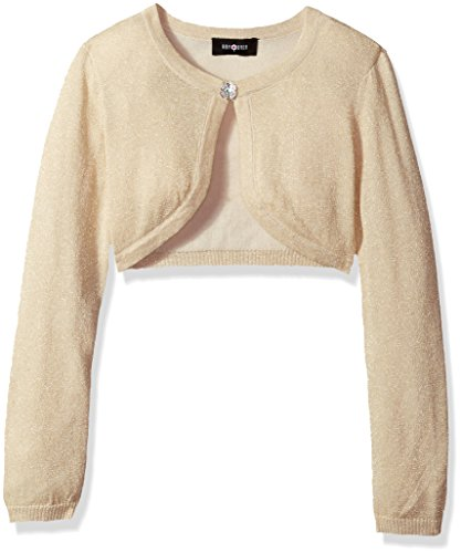 Price comparison product image Amy Byer Big Girls' Long Sleeve Metallic Cardigan, Gold, L