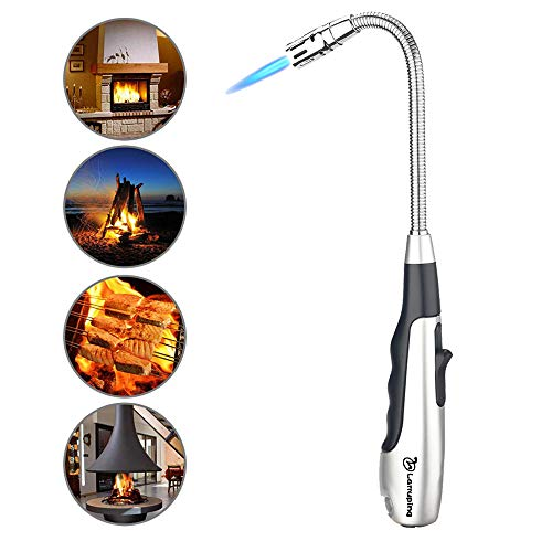 Torch Lighter Candle Lighter Butane Lighter 360 ° Reliable Safe Swivel Jet Flame Lighter Gas Windproof Refillable Fireworks Outdoor Fire Lighter for Kitchen Barbecue Fireplace Camping