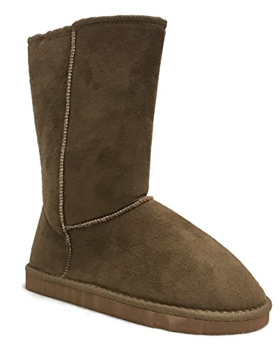 Mid Fur Girls Basic Camel Faux Button Suede Winter Soft Calf Lined Trish Boot Womens D Studio Warm Ifwqgvx