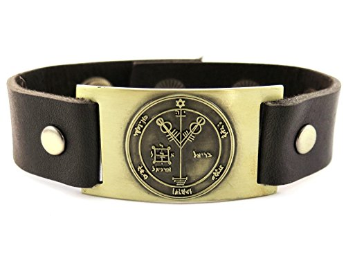Wealth Attraction Seal of Solomon Bracelet, Leather, Adjustable by 1000K' ways Designs