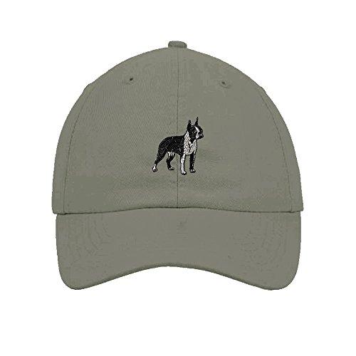 (Speedy Pros Boston Terrier Dog Embroidery Twill Cotton 6 Panel Low Profile Hat Light Grey)