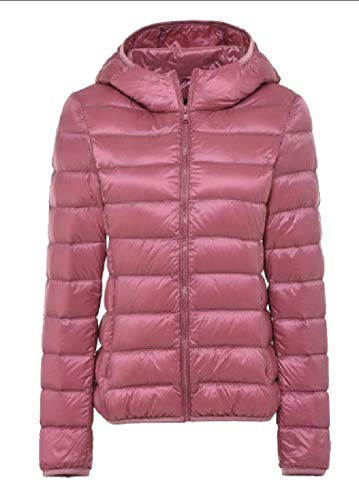 Jacket Down Insulated Packable Coat Pink Outdoor EKU Lightweight Hooded Women's X6qSnvH