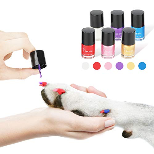 Dog Nail Polish Set, 6 Color Set (Pink, Purple, Red, Gold, Blue, Silver), Non-Toxic Water-Based Pet Nail Polish, Natural and Safe, Suitable for All Pet (Birds, Gerbils, Pigs and Mice), - Remover Dog Polish Nail